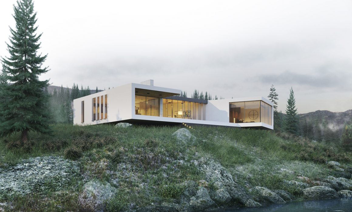 modern house in mountains