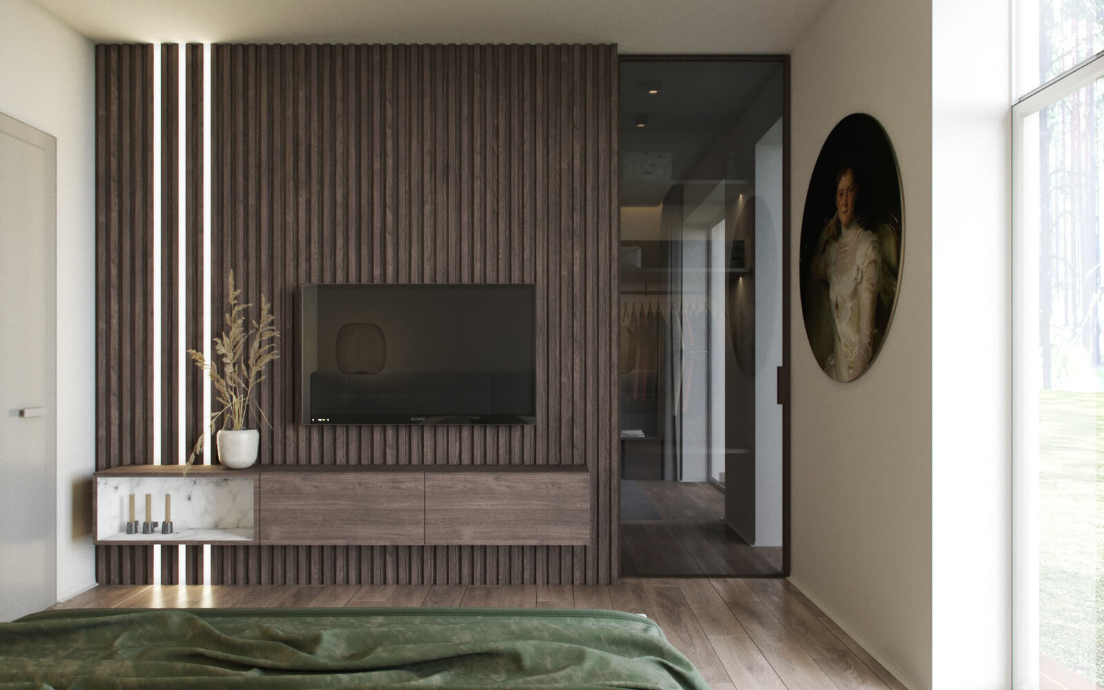 wood panels bedroom