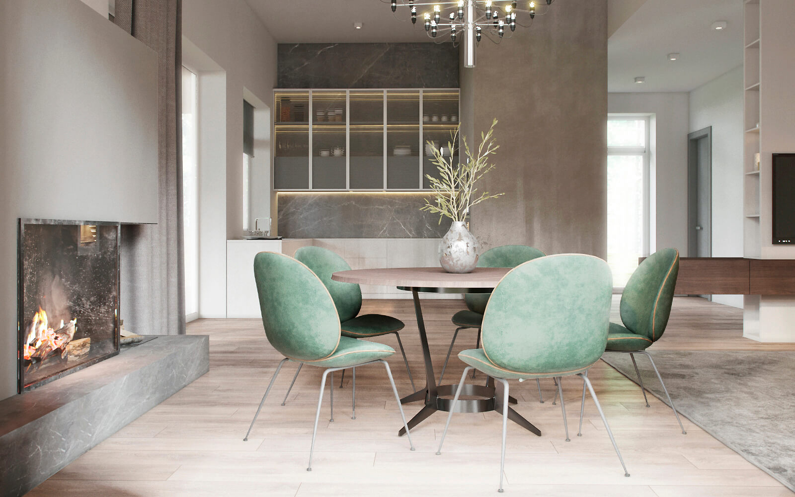B&B table and gubi chairs